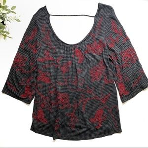 Lucky Brand Gray Embroidered Bell Sleeve Top